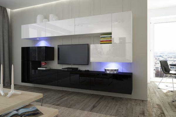лянцевая черно-белая гостиная стенка