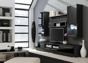 Черная глянцевая гостиная стенка под ТВ
