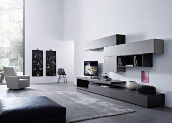 Гостиная в стиле хай-тек серого цвета