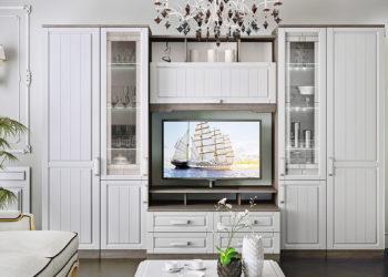 Белая гостиная стенка в классическом стиле