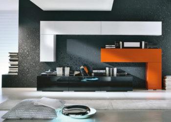 Бело-оранжевая Гостиная стенка в стиле хай-тек
