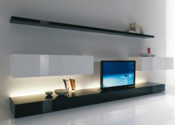 Глянцевая гостиная черно-белого цвета