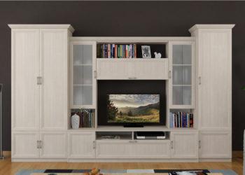 Гостиная стенка под ТВ в классическом стиле
