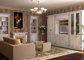 Гостиная стенка в классическом стиле с патиной