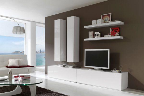 Гостиная стенка белый цвет стиль хай-тек