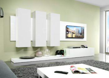 Навесная гостиная стенка белого цвета в современном стиле