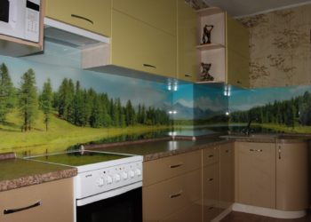 Кухня фотопечатью на фартуке